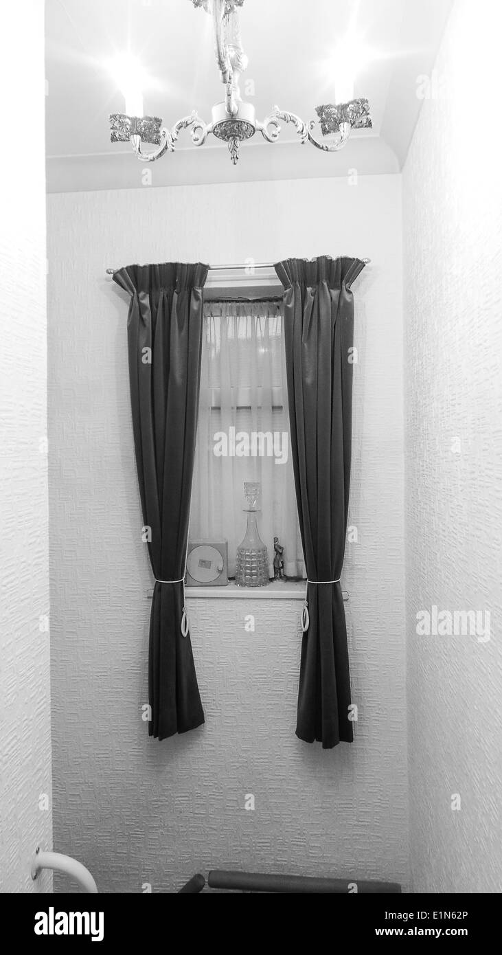 Window With Curtains In Hallway Lights On Stock Photo Alamy