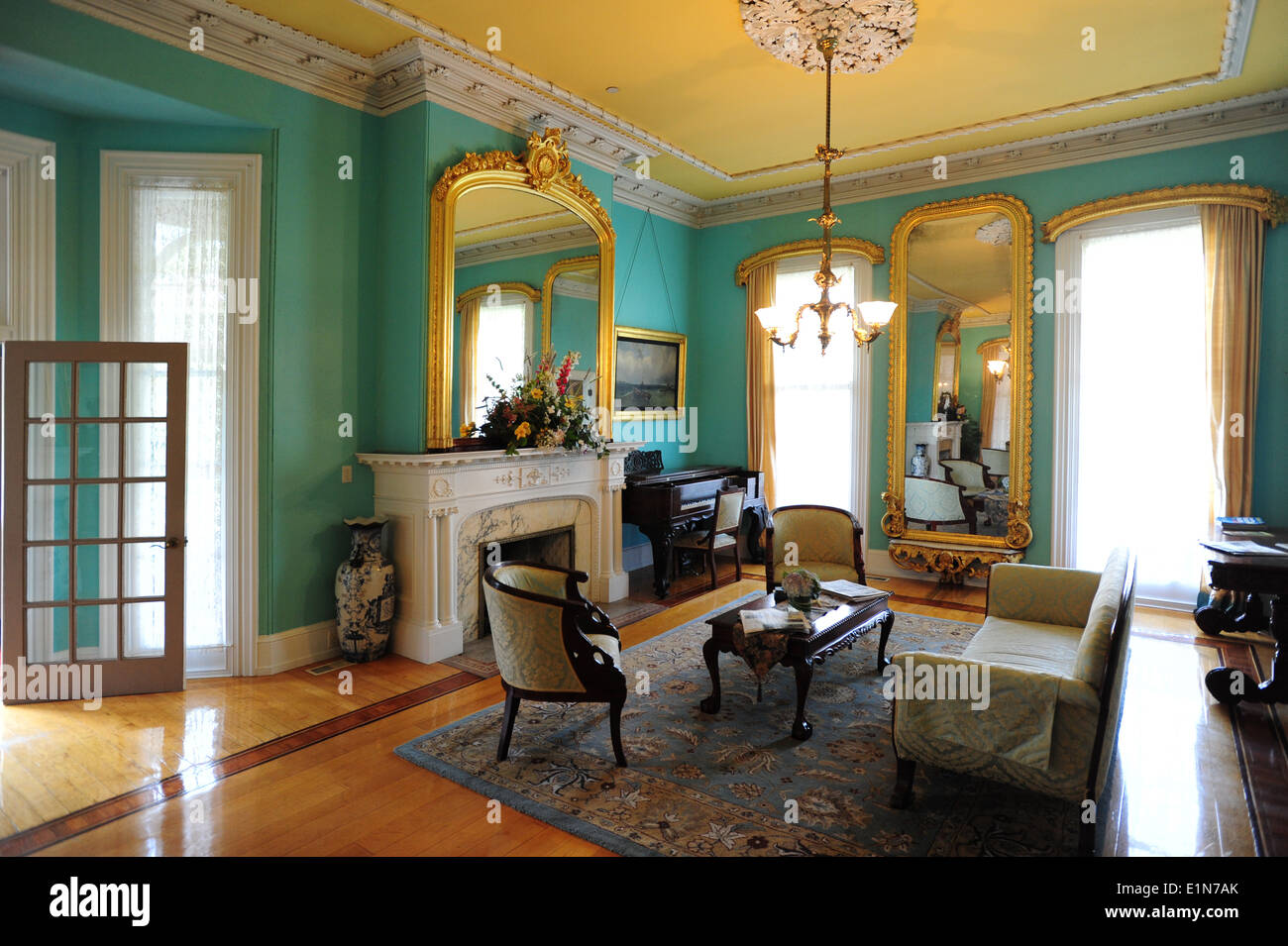 USA New Jersey NJ Cape May Southern Mansion B & B hotel old Victorian home now an inn - sitting room - Stock Image