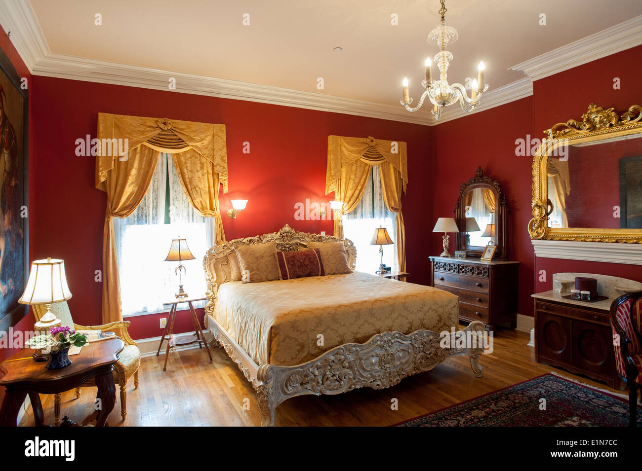 USA New Jersey NJ Cape May Southern Mansion B & B hotel old Victorian home now an inn - bedroom - Stock Image