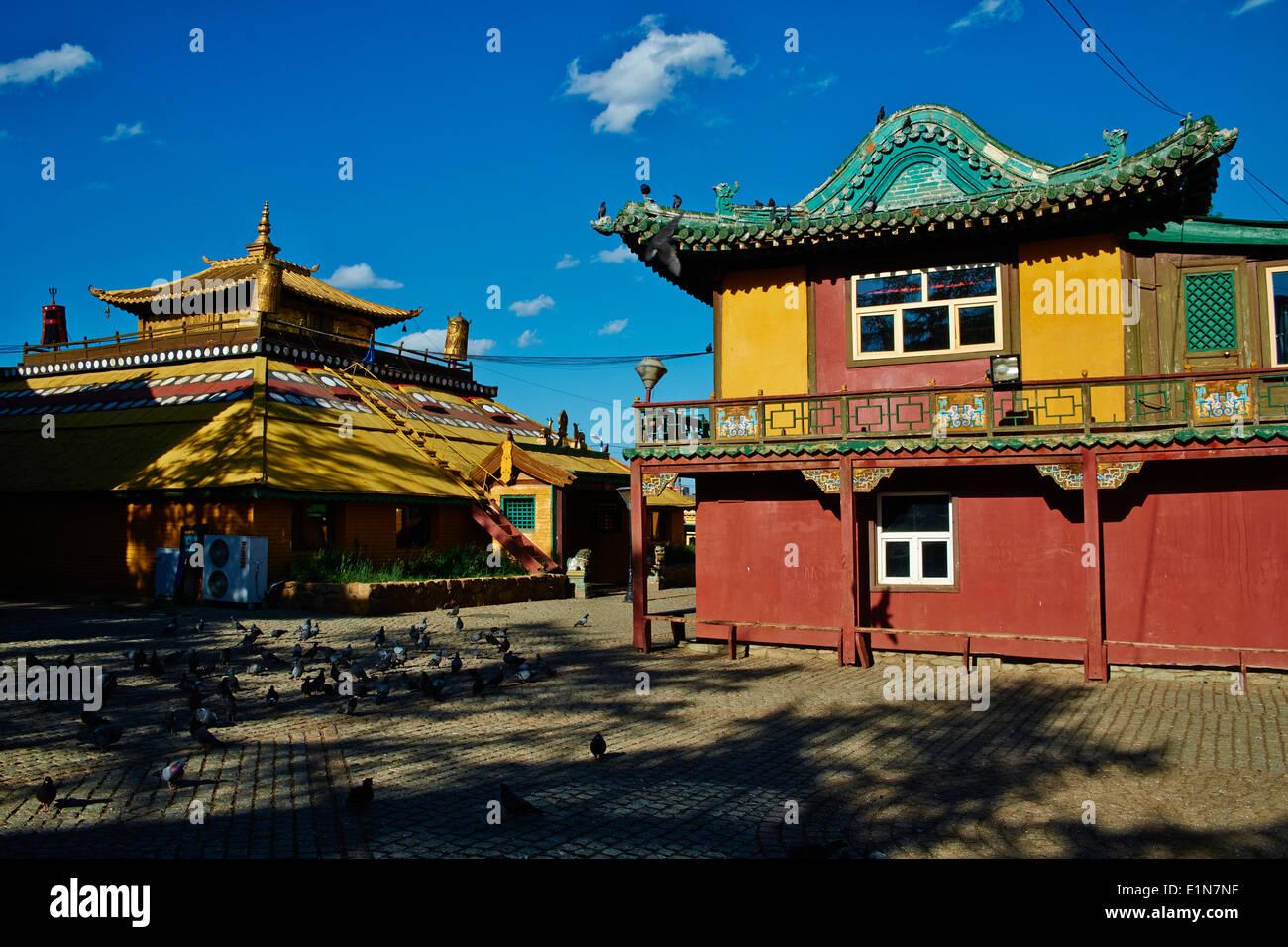 Mongolia, Ulan Bator, Gandan monastery (Gandantegchinlen Khiid) - Stock Image