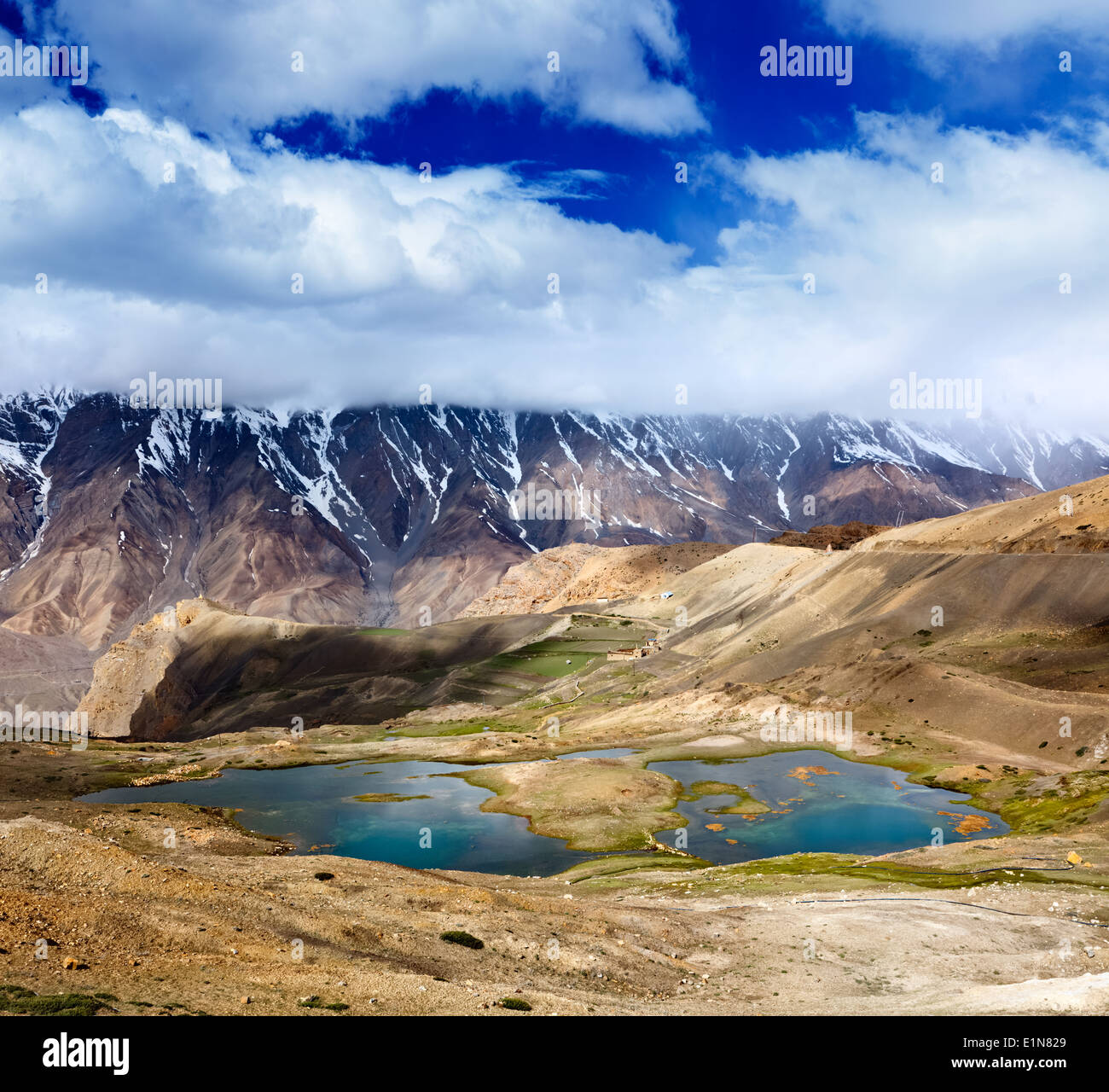 Vintage retro effect filtered hipster style travel image of mountain lakes in Spiti Valley in Himalayas. Himachal Pradesh, India - Stock Image