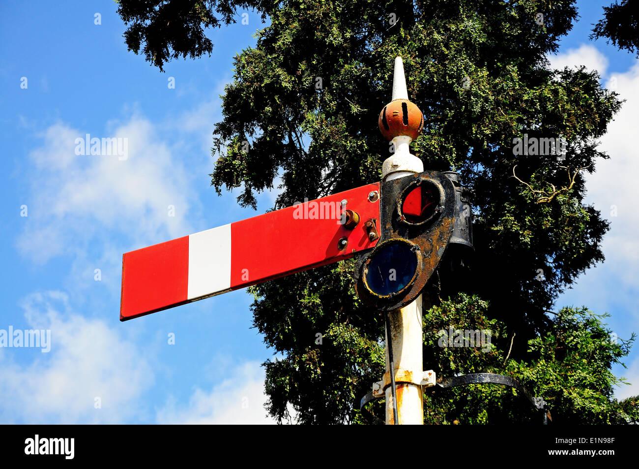 Semaphore signal showing the lower quadrant home danger at the railway station, Hampton Loade, Shropshire. Stock Photo