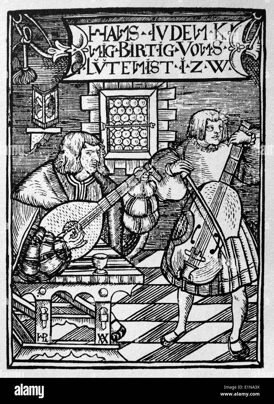 Renaissance. 16th century. Musicians playing the lute and cello. Concert. Engraving. - Stock Image