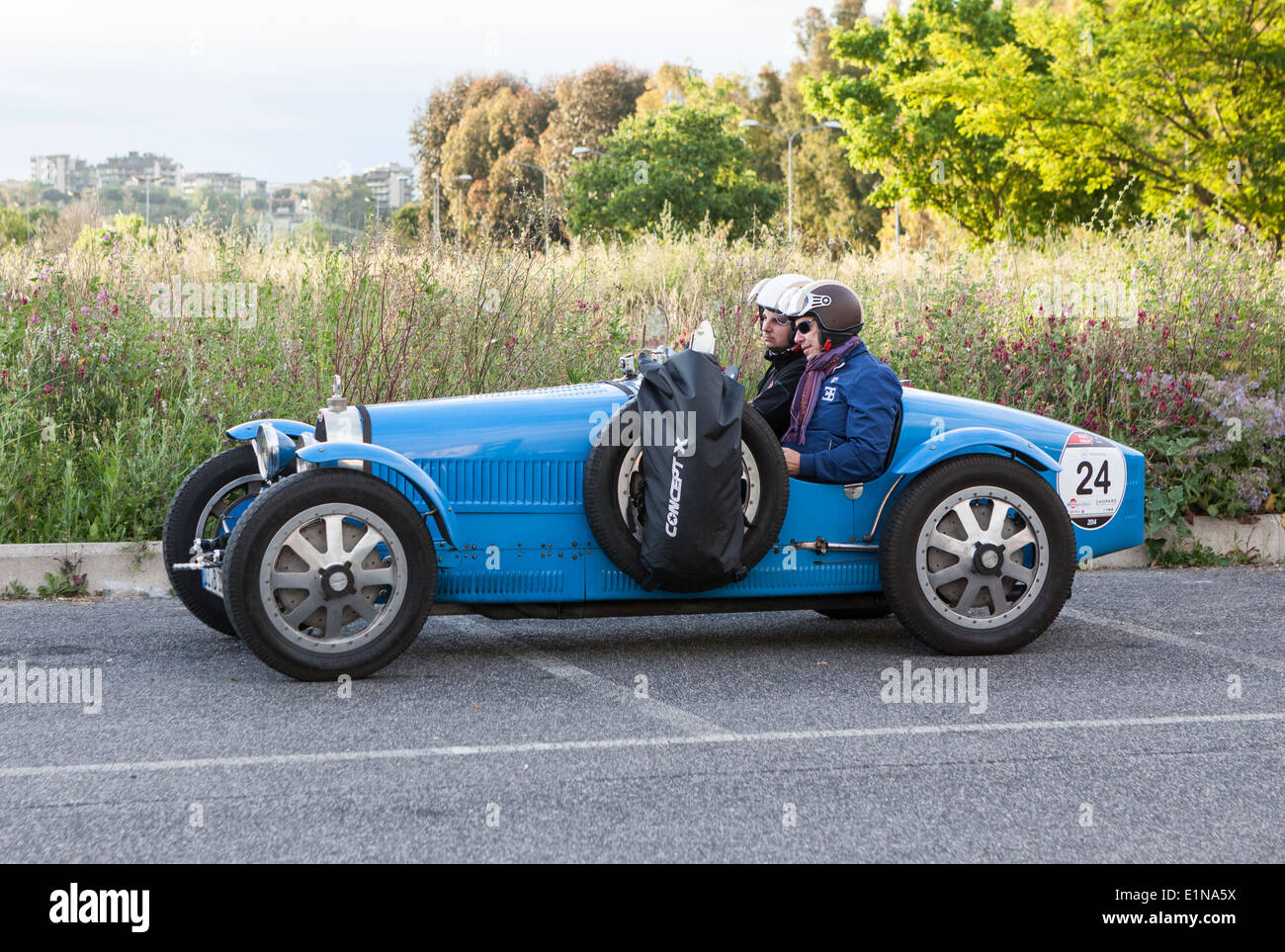 1927 Bugatti T 35A waiting to start the third leg from Rome to Bologna in the 2014 mille miglia classic car rally in Italy. - Stock Image