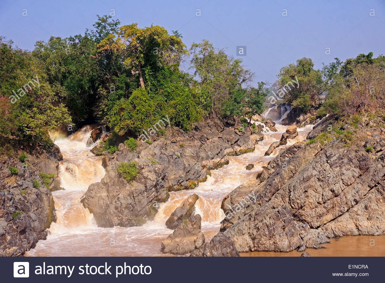 Waterfall on the Mekong River in Laos - Stock Image