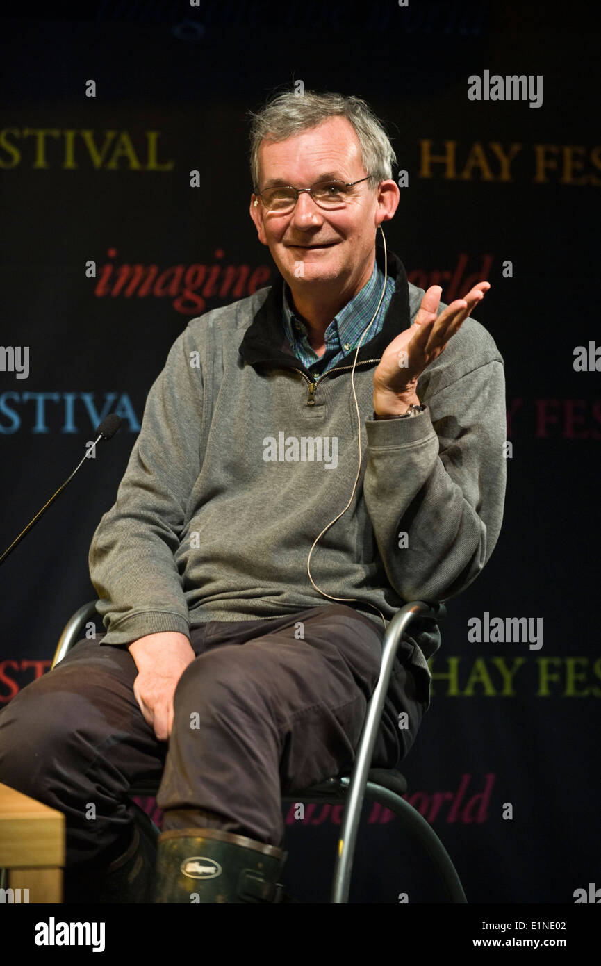 Magnum documentary photographer Martin Parr speaking about his work at Hay Festival 2014 ©Jeff Morgan - Stock Image