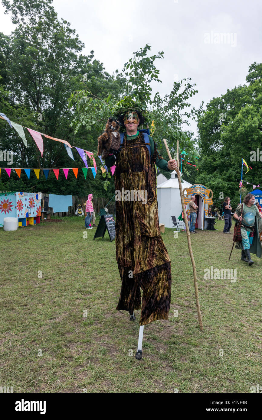 Man dressed as the Scarecrow from Wizard of Oz Glastonbury Festival 2013 - Stock Image