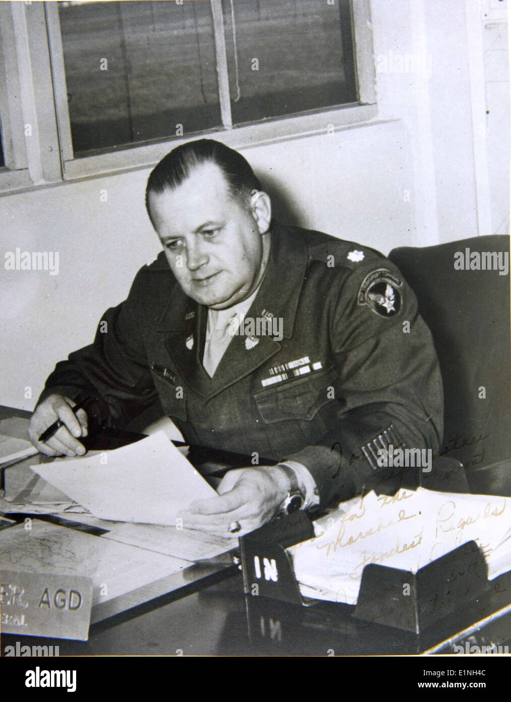 Capt. Forrest Blalock Special Collection Photo Picture is signed, ''Forrie, Thinking up another job for the Prooost Marshal. Fondest Regards, James. H. Reiter Colonel USAF (Retired) {It's} wonderful. 2-25-56.'' - Stock Image