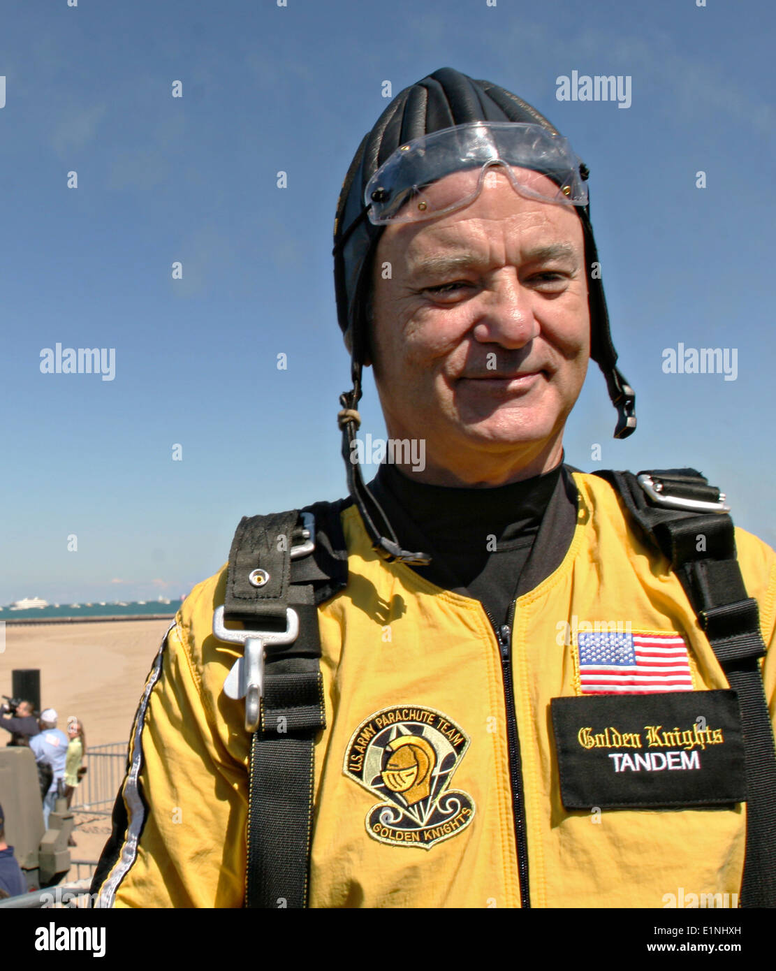 Actor Bill Murray smiles after parachuting in tandem with the US Army Golden Knights Parachute Team at the 50th annual Chicago Air and Water Show at North Avenue Beach August 15, 2008 in Chicago, IL. - Stock Image