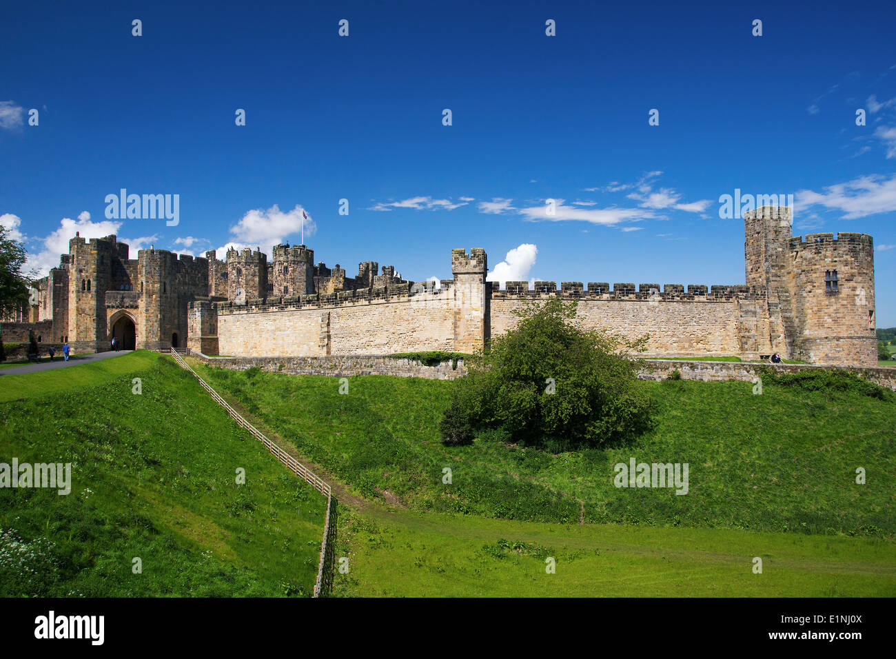 Alnwick Castle, Northumberland, where Harry Potter was filmed. - Stock Image