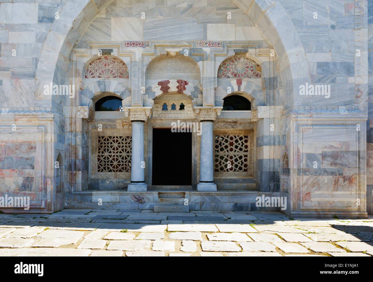 Marble stonework of Ilyas Bey Camii, Miletus, Turkey 140415_60720 - Stock Image