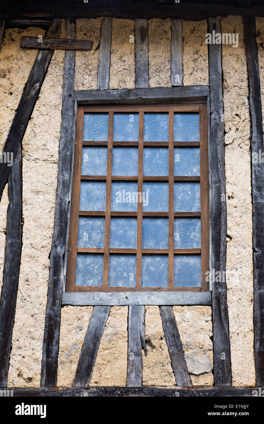 Window in an old half timbered building. - Stock Image