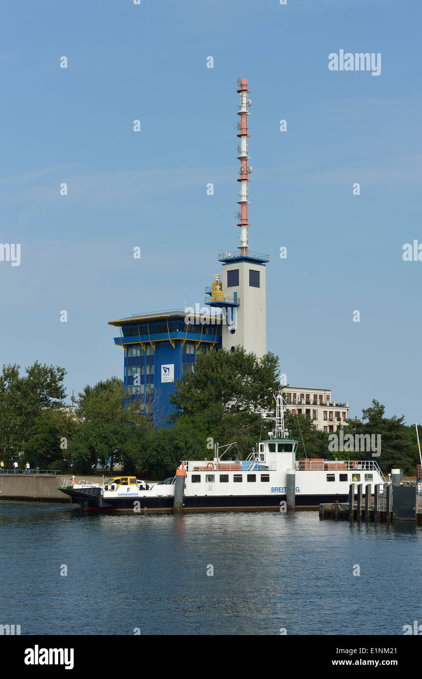 WSV.de building, Port of Rostock, Warnow River, Mecklenburg-Western Pomerania, Germany Waterways and Shipping Administration - Stock Image
