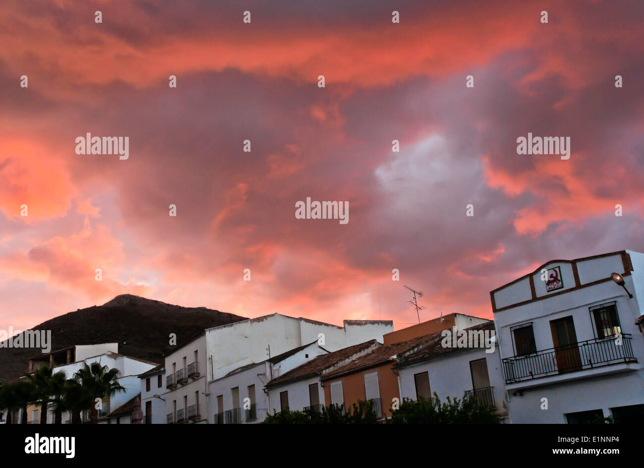 Urban view at sunset, Alameda, Malaga-province, Region of Andalusia, Spain, Europe - Stock Image