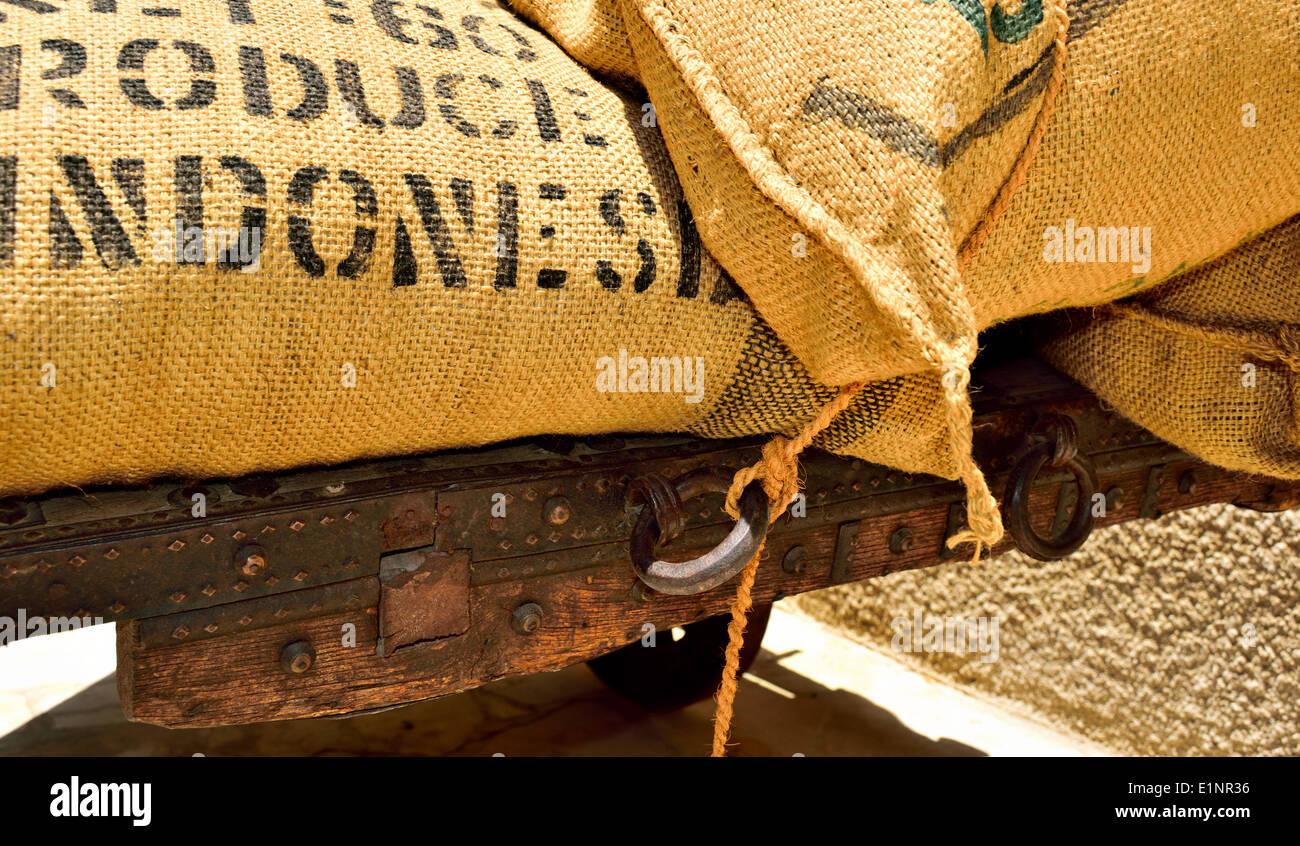Old coffee sacks on a wagon Dubai Bastakiya - Stock Image