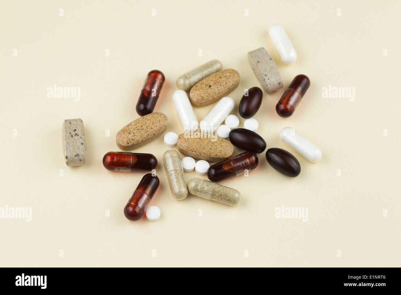 Vitamins and supplements (multivitamins, vitamin D, Coenzyme Q10, Vitamin K2, Krill oil) - Stock Image