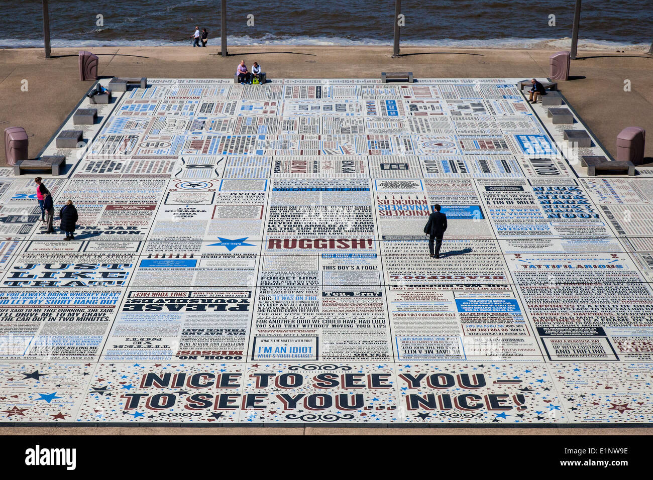 The catch phrases of Bruce Forsyth embossed in the Comedy Pavement on Blackpool's Promenade, Lancashire, UK - Stock Image