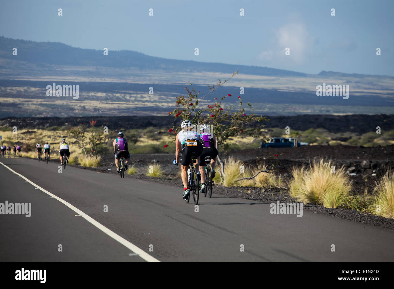 Unidentified cyclers on the Lavaman Triathlon in Waikoloa, Hawaii. It is held in Olympics format: 1.5 km swimming, 40 km biking and 10 km running. Stock Photo