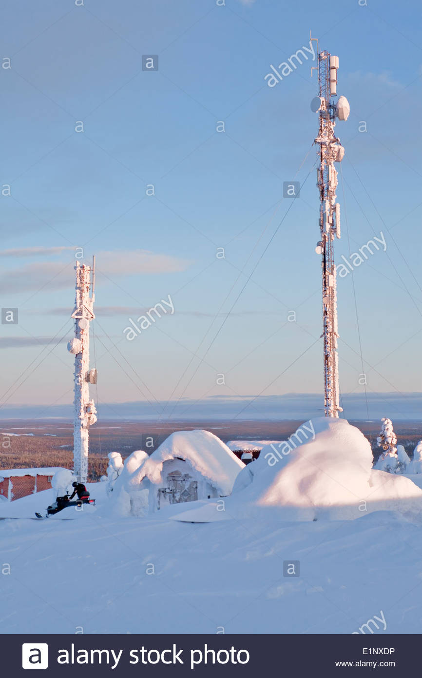 Masts on a fell in Salla Stock Photo