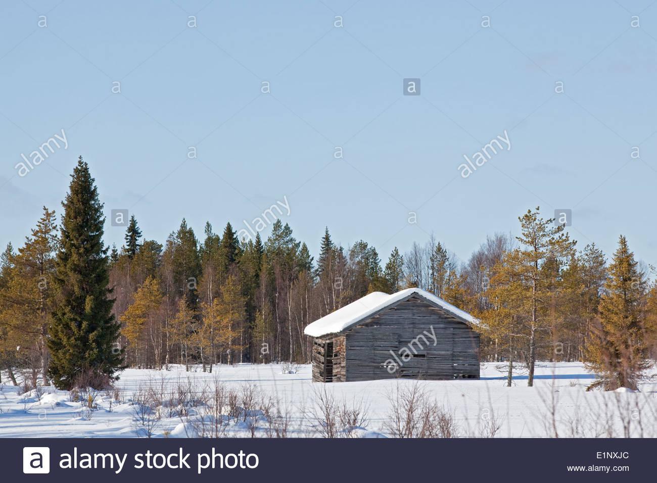 Rural landscape in Finnish Lapland - Stock Image