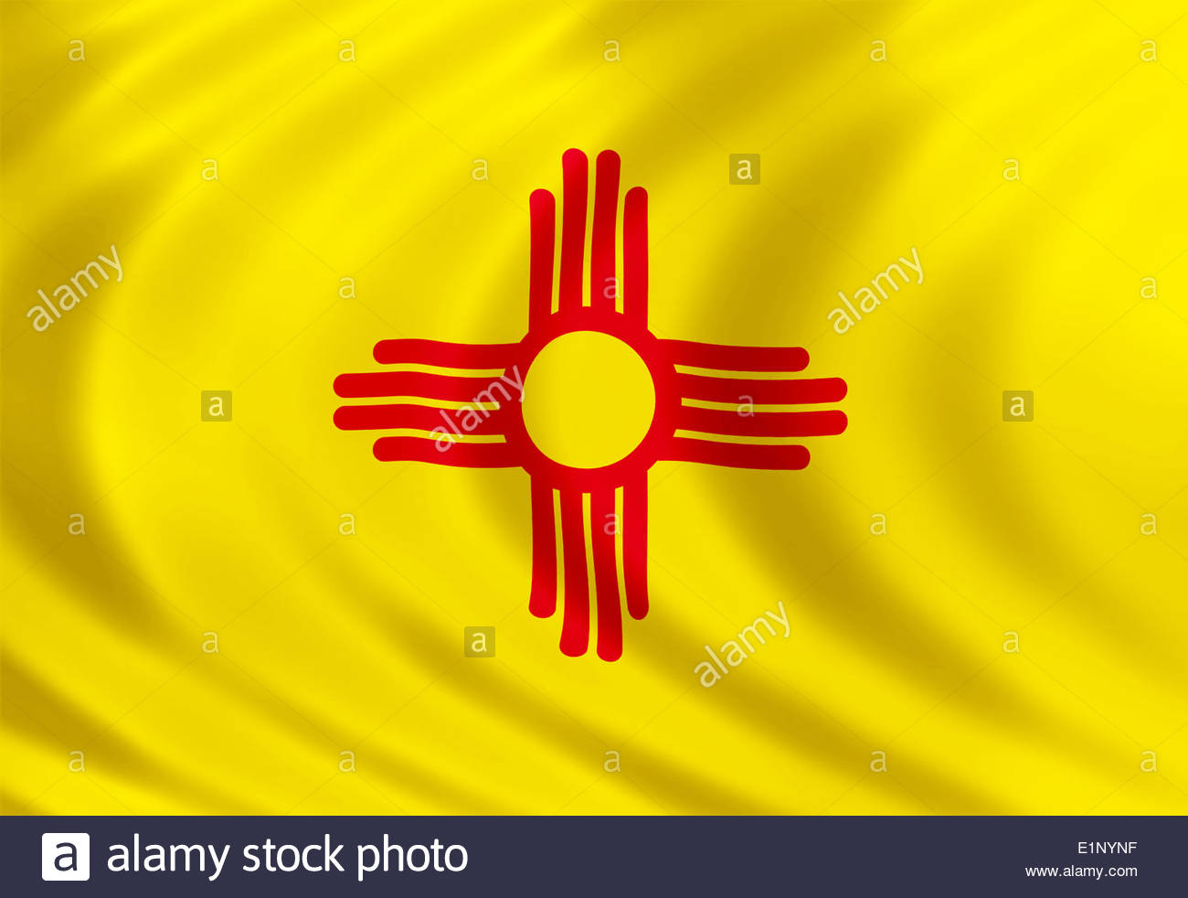 New Mexico flag icon of silk - Stock Image