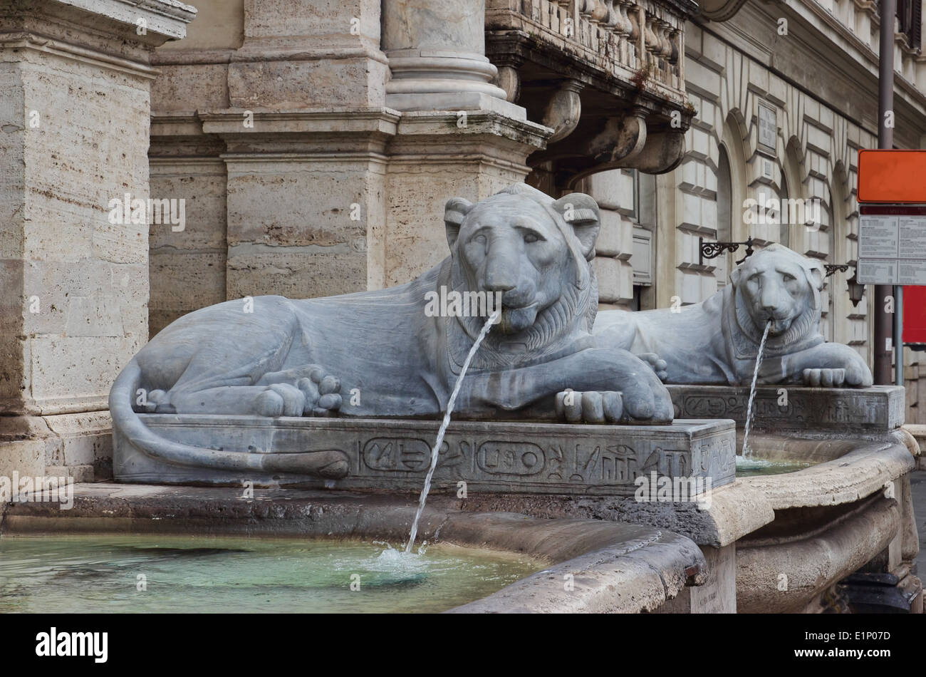 the Fontana dell'Acqua Felice, also called the Fountain of Moses, detail of the lions - Stock Image