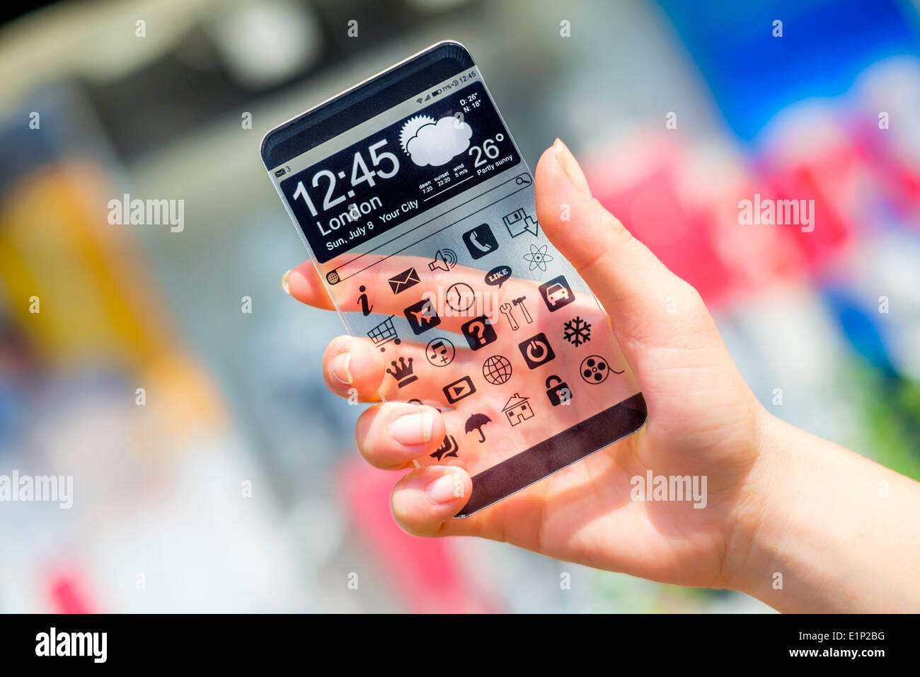 Smartphone with transparent screen in human hands. - Stock Image