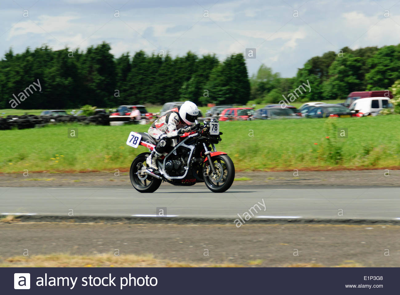 East Fortune, UK.  8 June,2014.  Lee Teesdale (78)on a Honda VF1000F in the Post Classic Senior race during the Bob MacIntyre Memorial Race meeting. Credit:  Roger Gaisford/Alamy Live News - Stock Image
