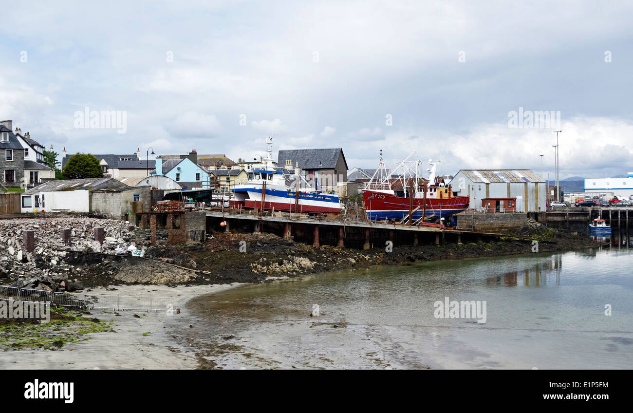Boatyard in the port of Mallaig in Highland Scotland - Stock Image