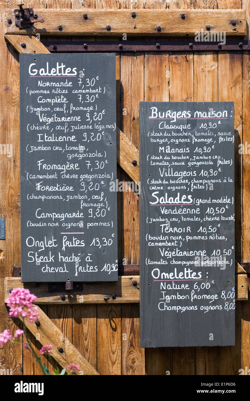 French Menu Board On The Door Of A Cafe Stock Photo