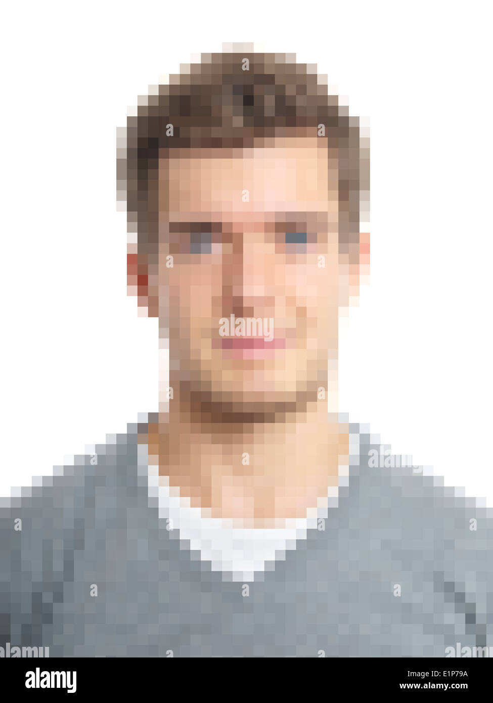 pixelated face to preserve anonymity - Stock Image