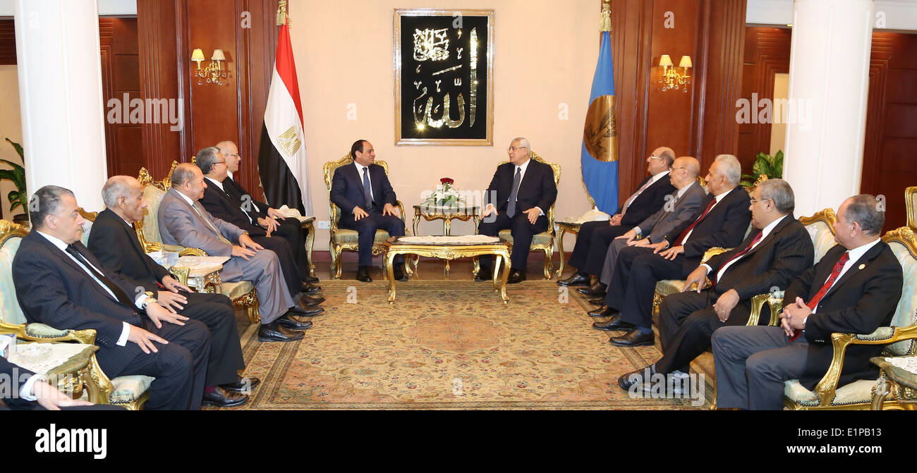 8 June 2014 -- President-elect Abdel Fatah El Sisi and ex-president Adly Mansour meet with members of the Supreme Constitutional Court - Stock Image