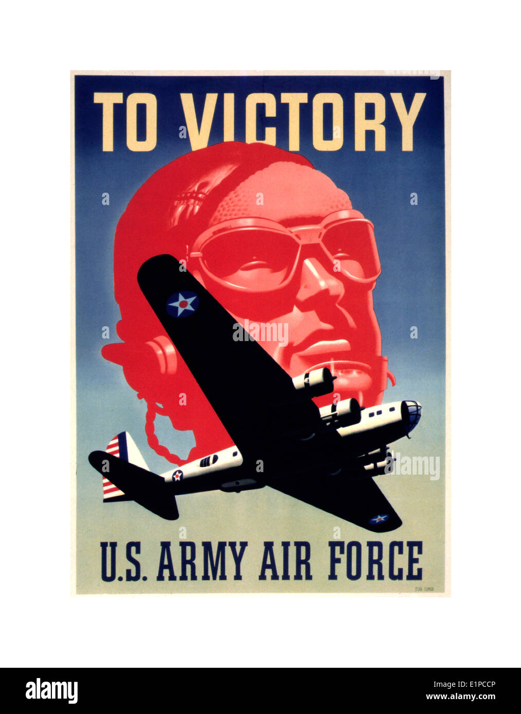 American propaganda poster WW2 with pilot and flying fortress bomber aircraft - Stock Image