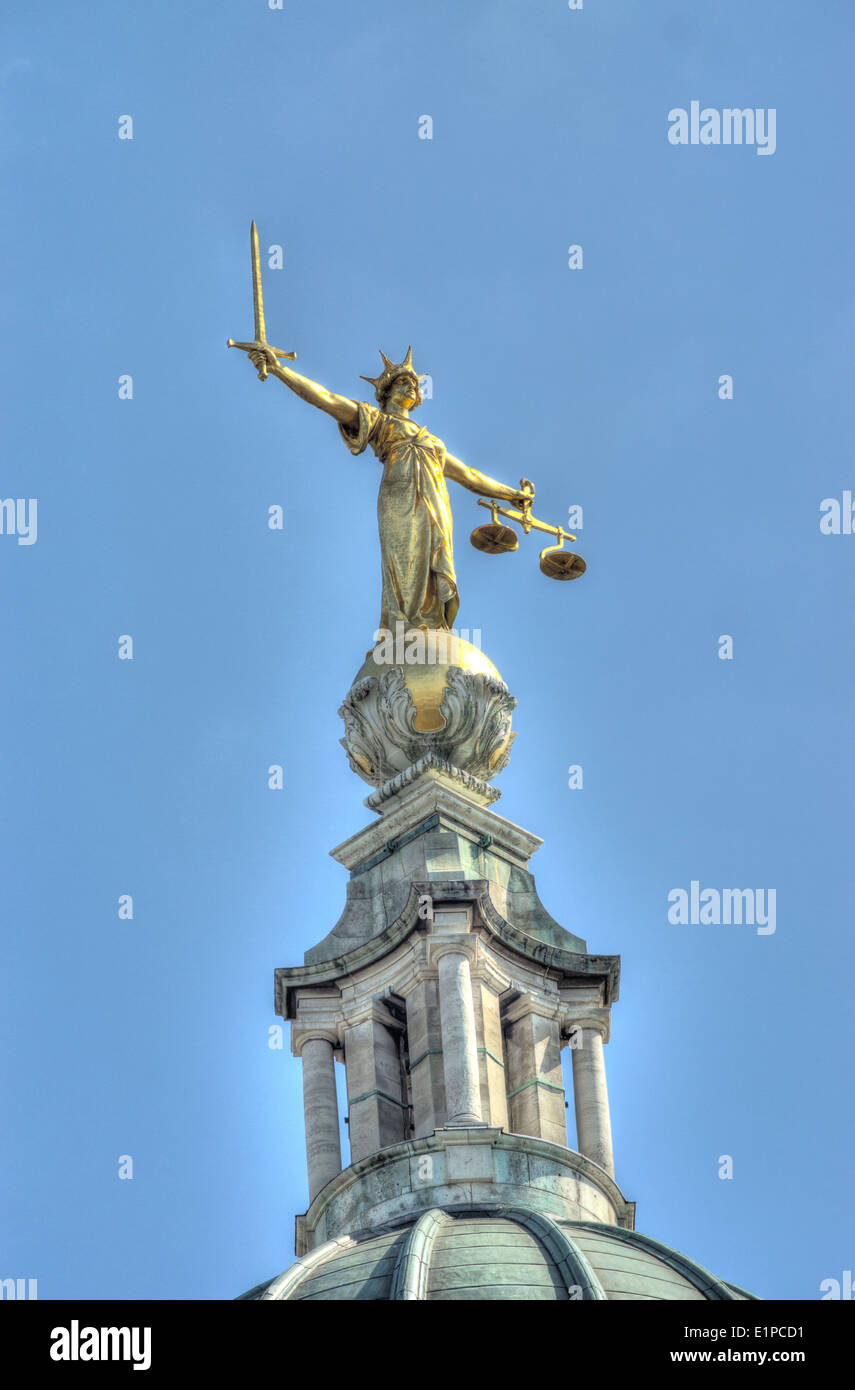 justice statue, The Old Bailey.  Central Criminal Court - Stock Image