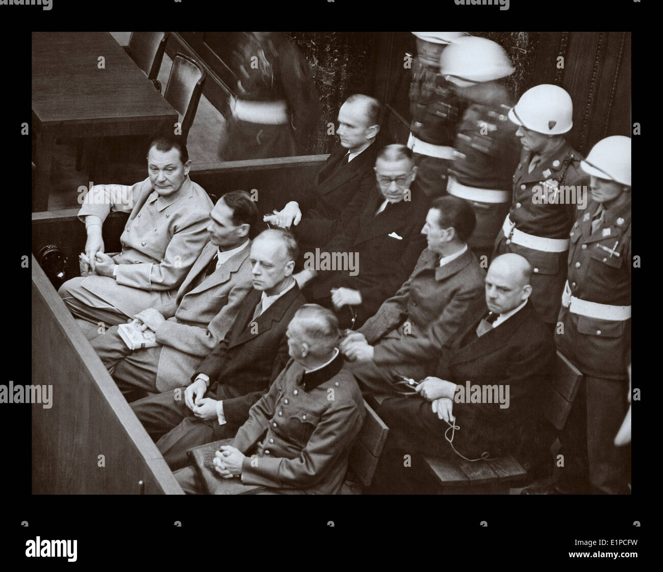 Interior view of Nuremberg Trial in session with Goering head of the Luftwaffe indicted for crimes against humanity Stock Photo
