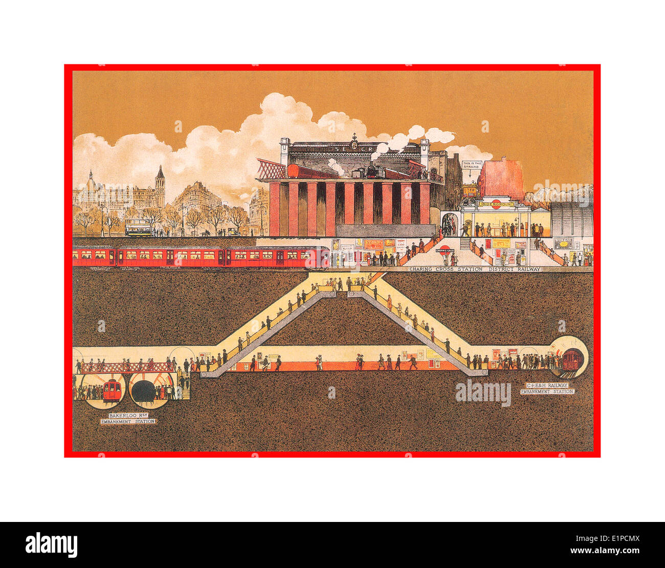 Vintage poster cutaway illustration of London Underground tube system with above ground rail in early 1900's - Stock Image
