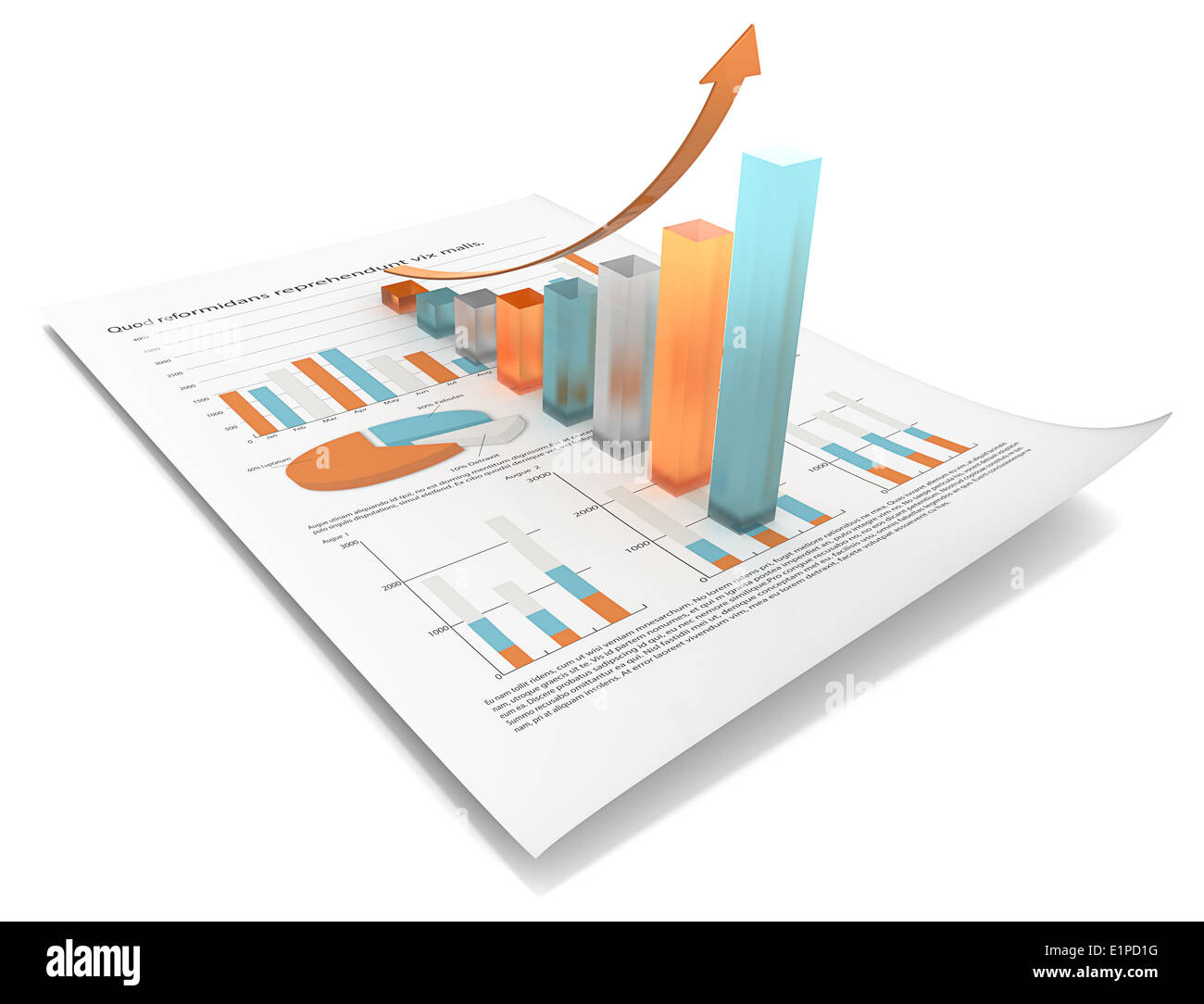 Abstract financial document with 3d graph of frosted glass