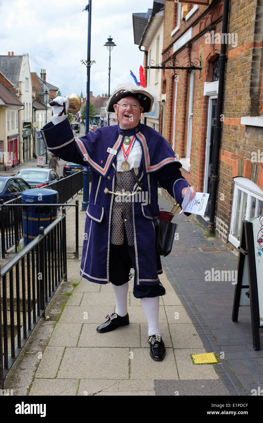 Stan Whitcher, town crier since 2003 in Alton, Hampshire. UK. - Stock Image
