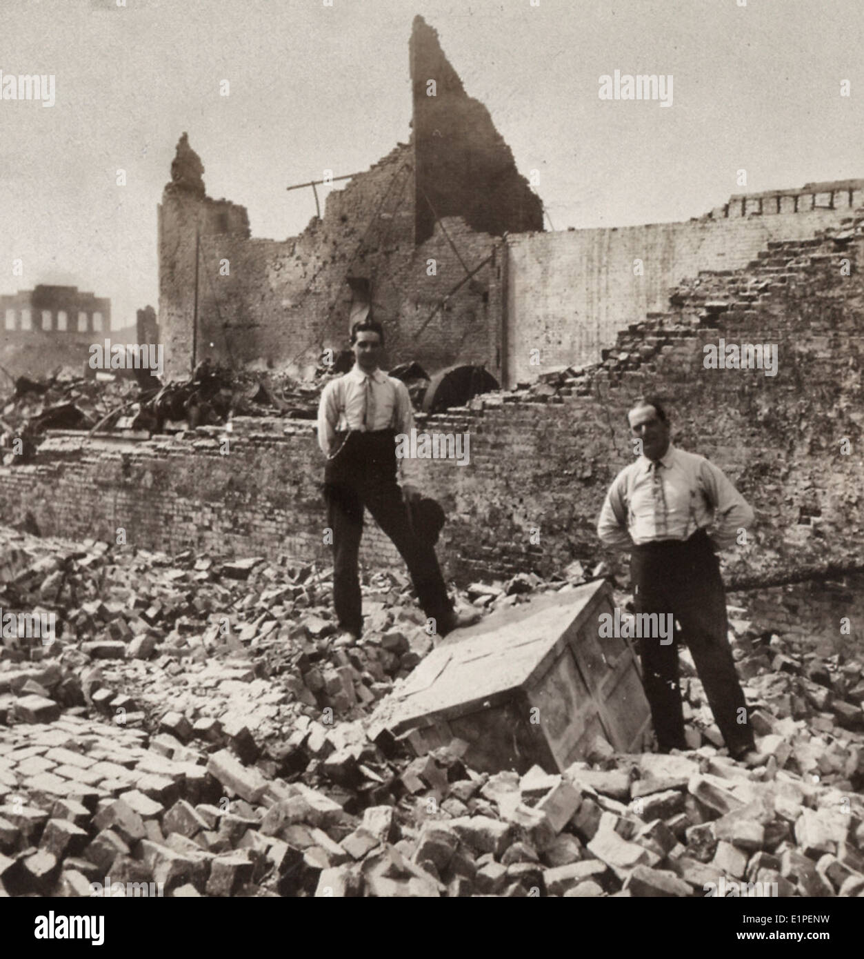 Ruined but not disheartened. His Safe - His Business Souvenir San Francisco, California, April 1906 - Stock Image
