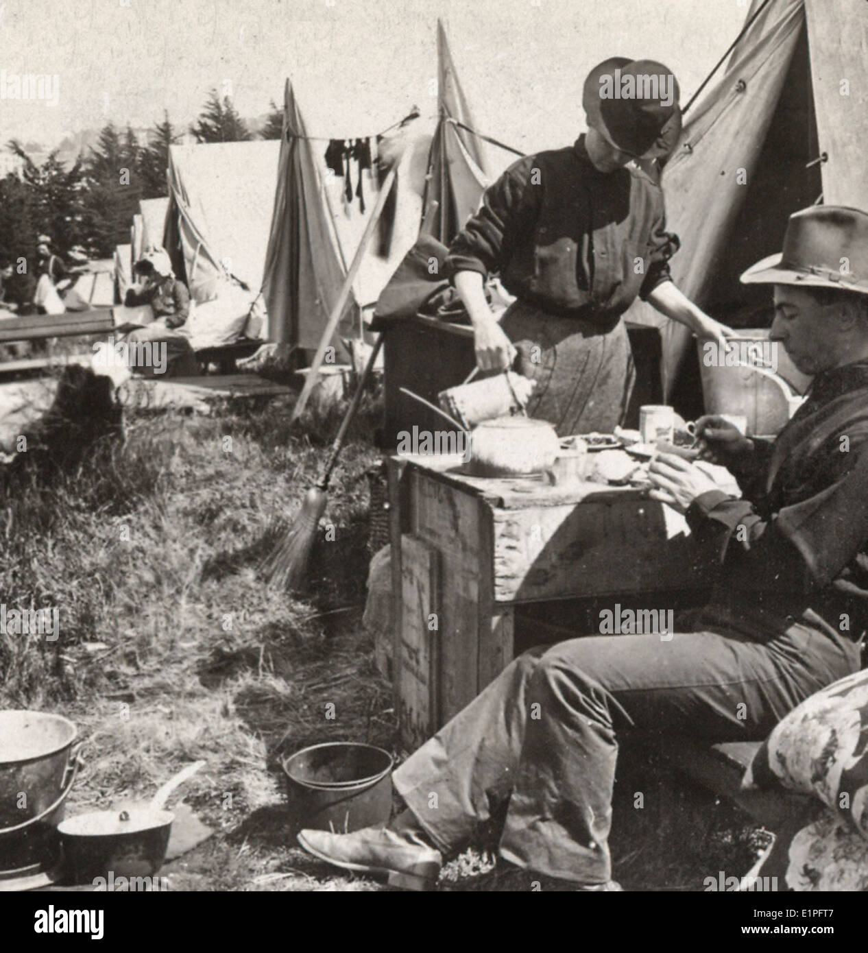 Home life among the refugees - a street of tents in the Presidio - San Francisco disaster - April 1906 - Stock Image
