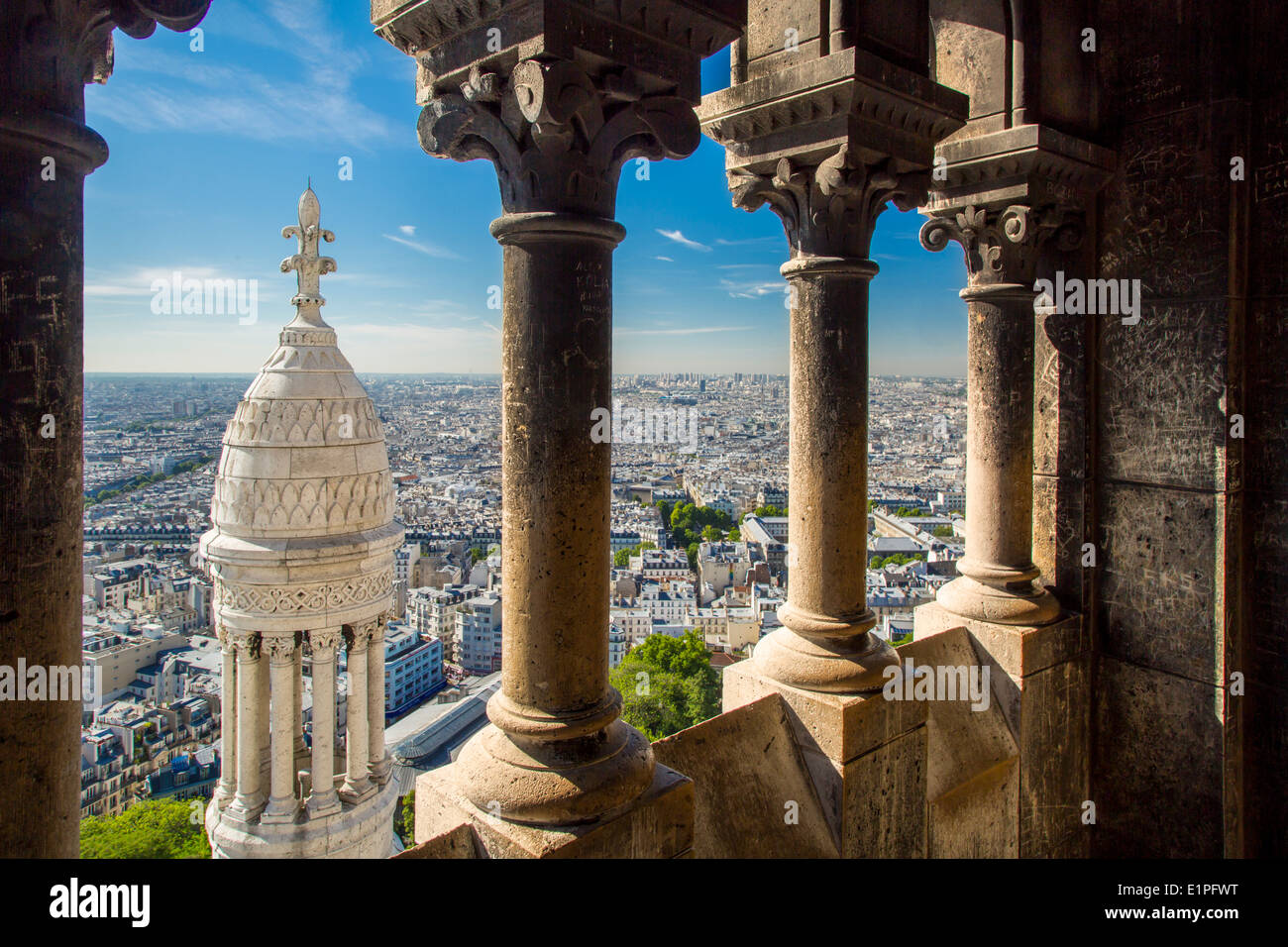 View from the top of Basilique du Sacre Coeur in Montmartre, Paris France - Stock Image