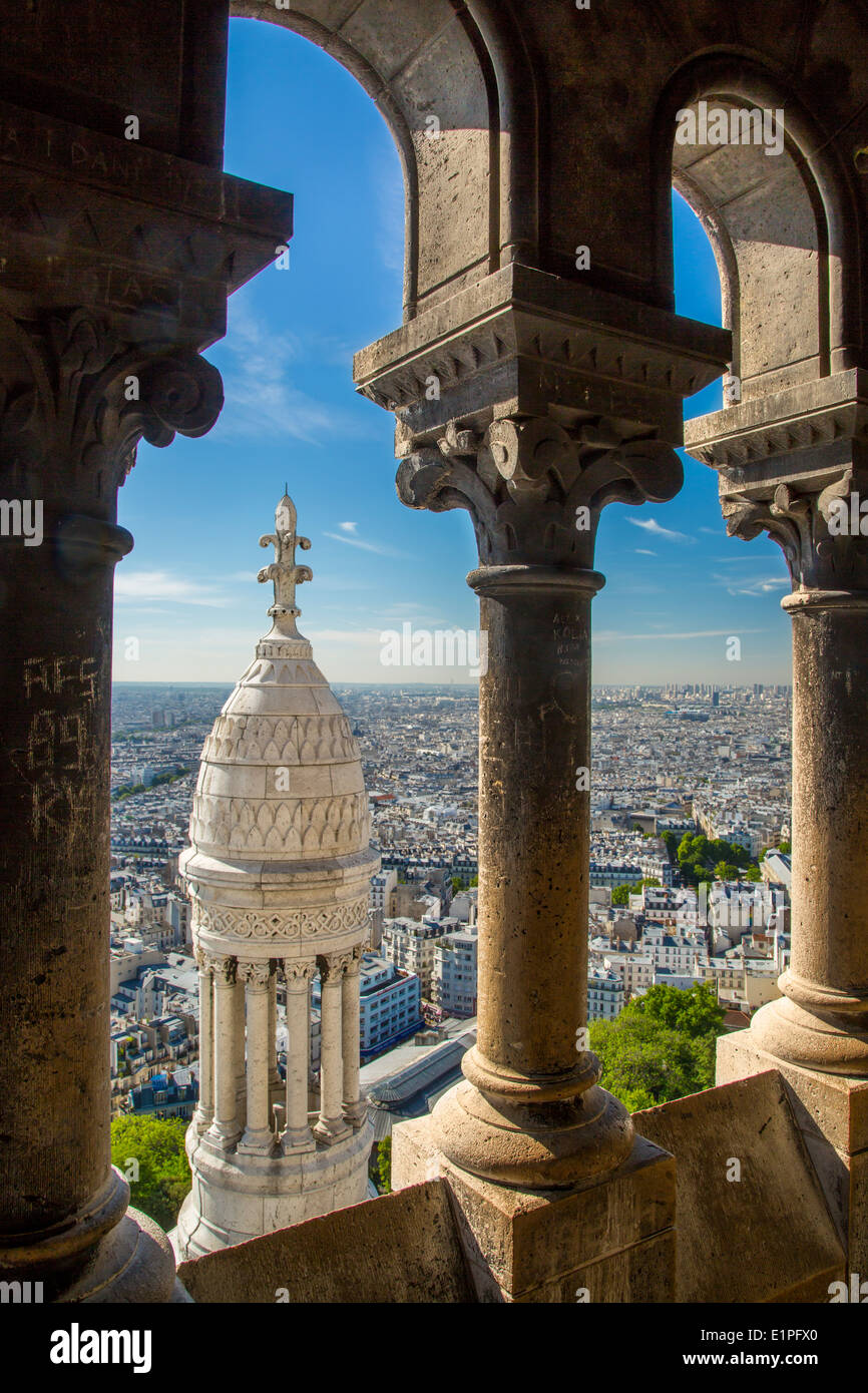 View from the top of Basilique du Sacre Coeur in Montmartre, Paris France Stock Photo