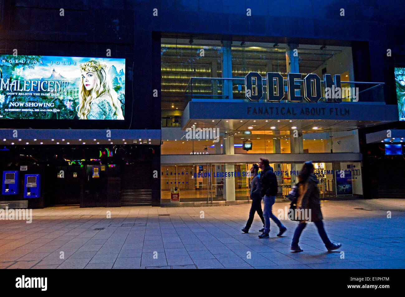 Odeon Cinema at night, Leicester Square, West End,London, England, United Kingdom - Stock Image