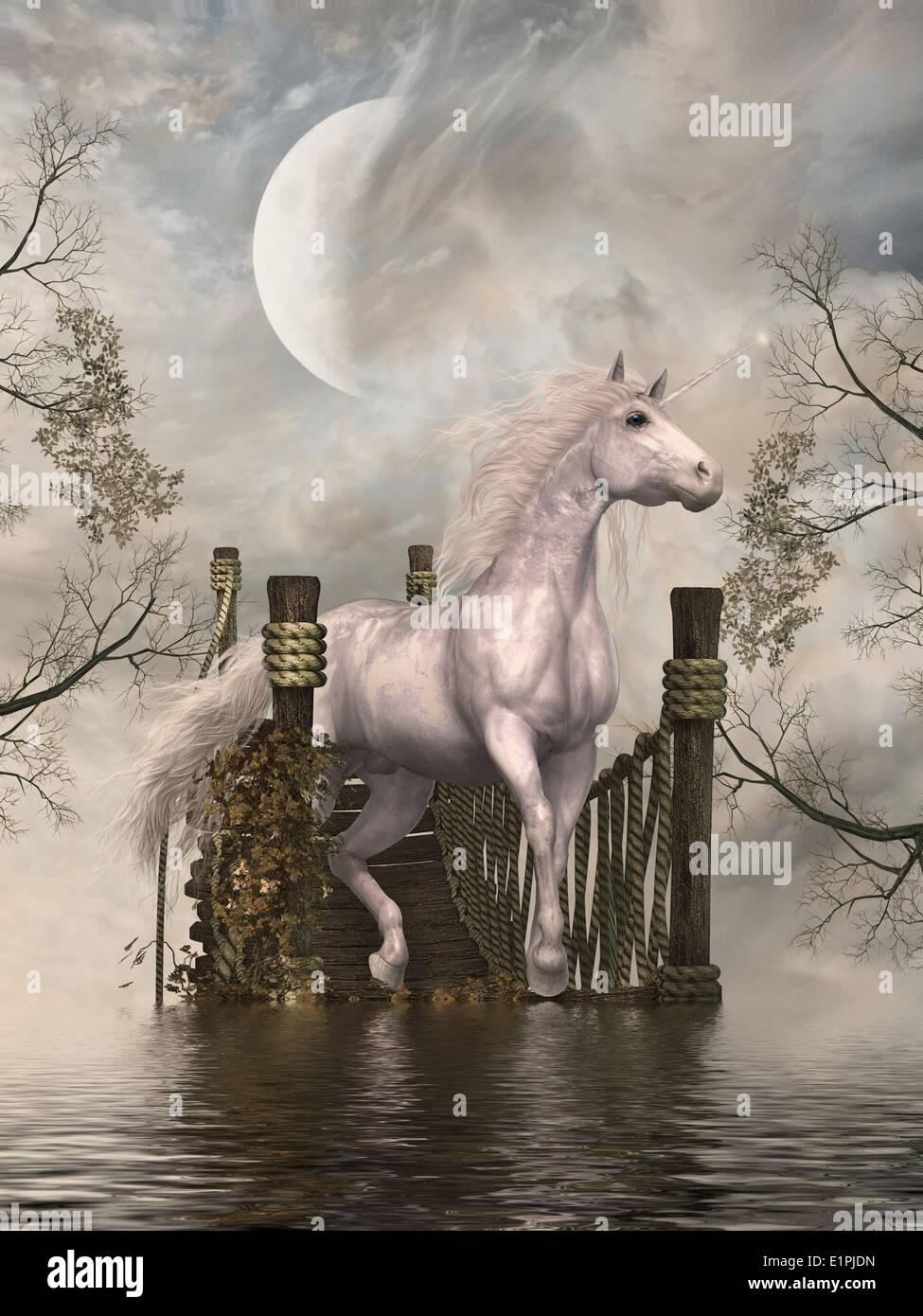 Fantasy landscape with white unicorn in a bridge - Stock Image