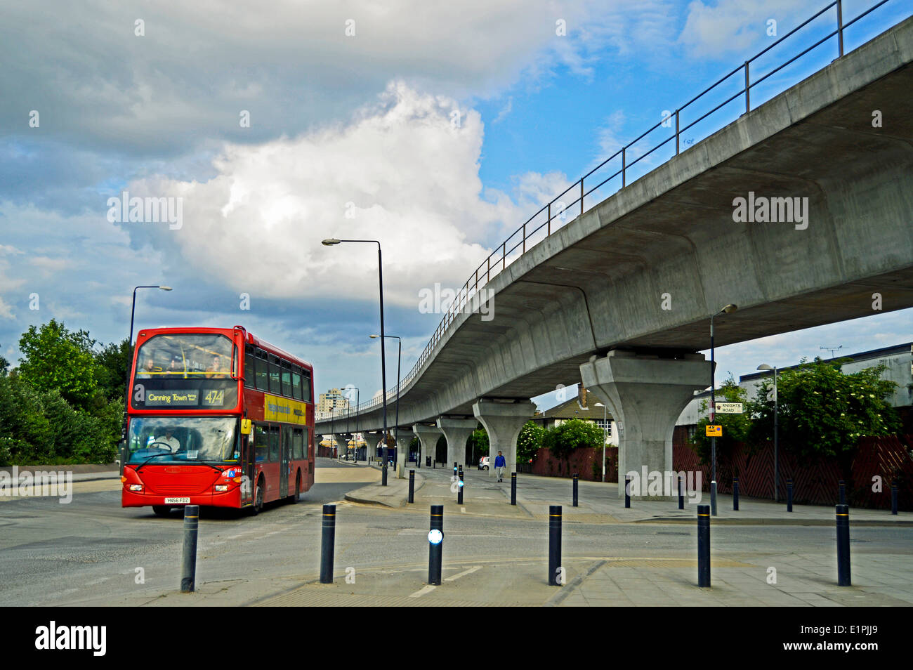 West Silvertown DLR overpass, London Borough of Newham, London, England, United Kingdom - Stock Image