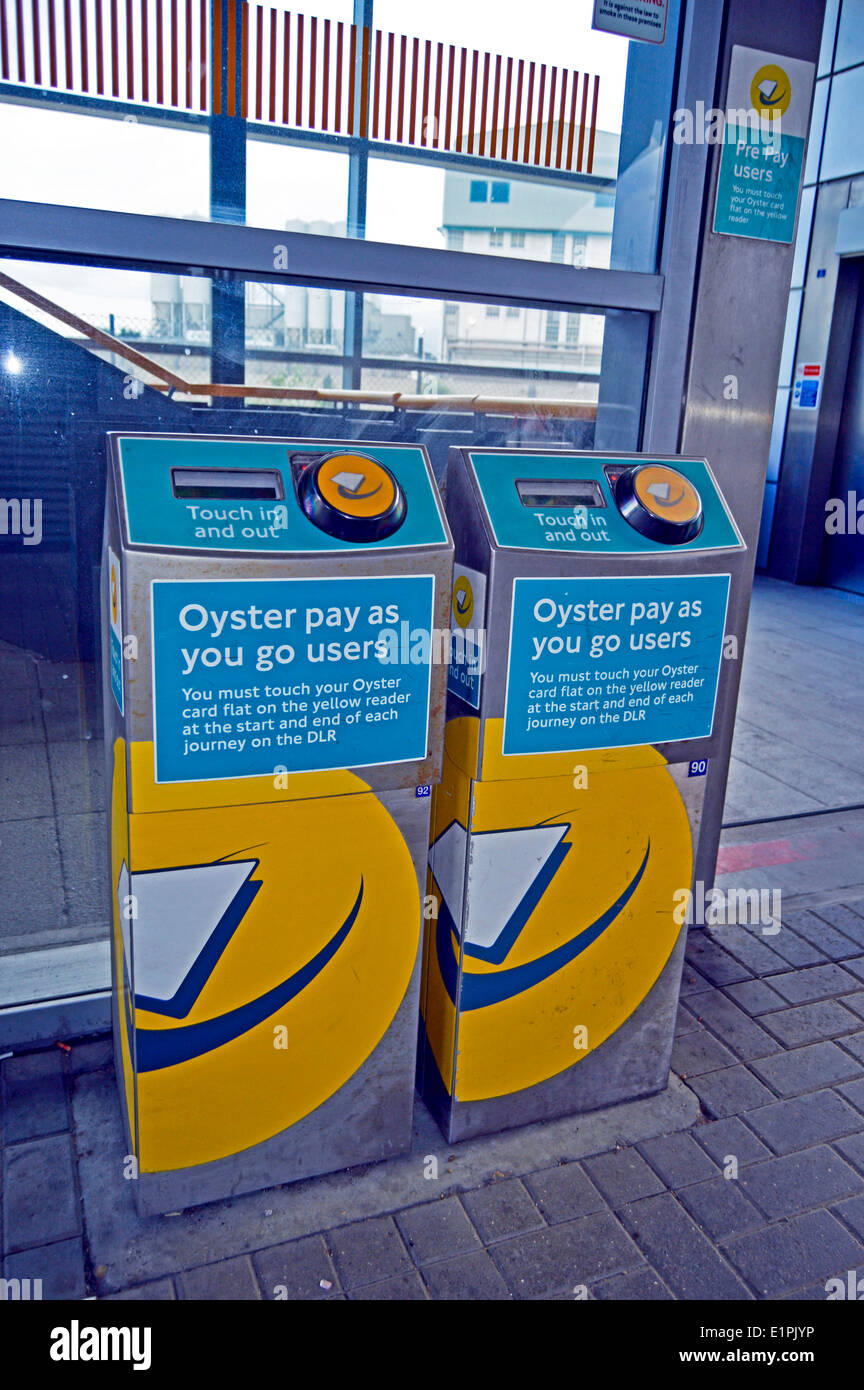 West Silvertown DLR Station Oyster card touch-in touch-out reader, London, England, United Kingdom - Stock Image