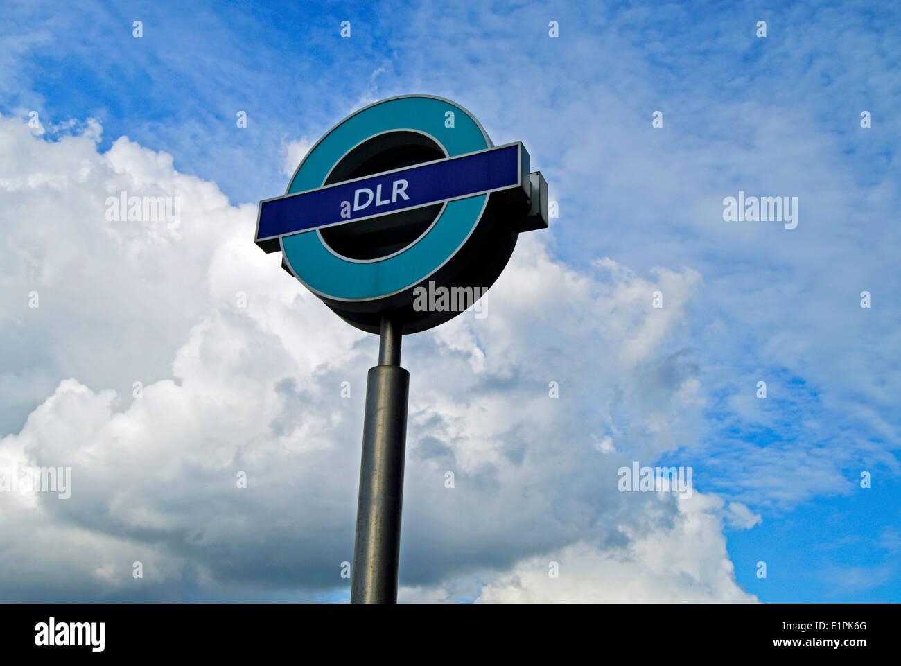 West Silvertown DLR Station roundel, London Borough of Newham, London, England, United Kingdom - Stock Image