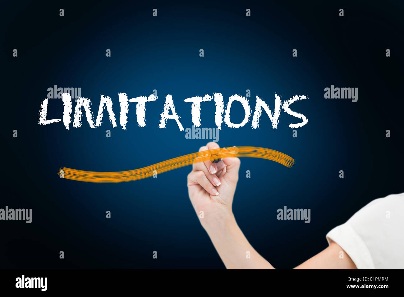 Businesswoman writing the word limitations - Stock Image