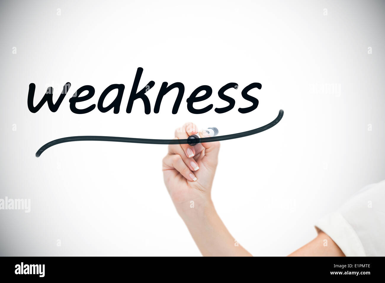 Businesswoman Writing The Word Weaknesses Stock Photo