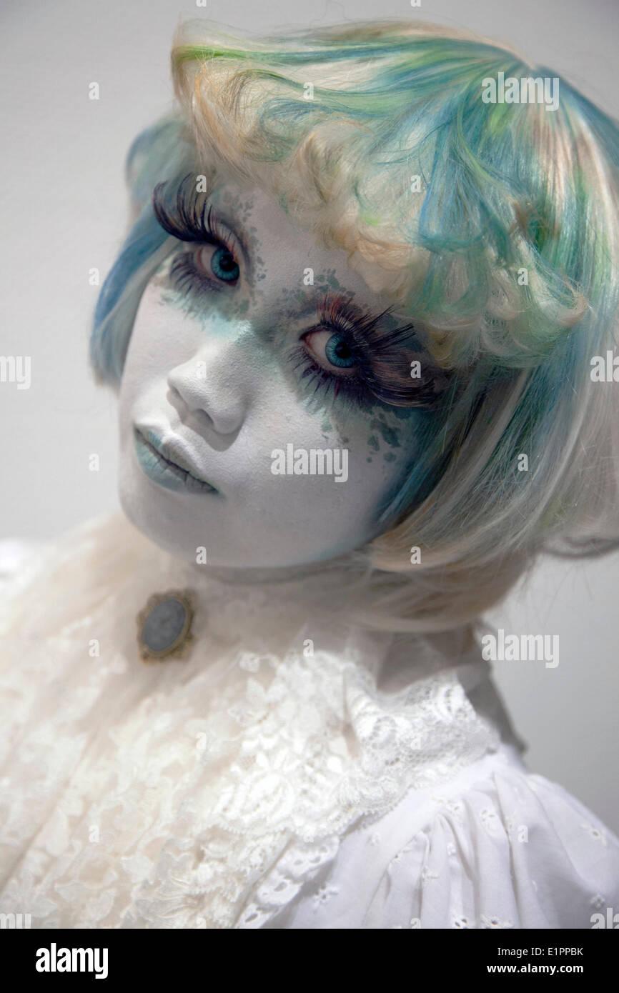 "Tokyo, Japan - The Shiro-nuri artist Minori appears at the group art exhibition ""Hyo-byo Koh-Jutsu"" in Omotesando Stock Photo"
